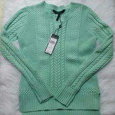 Nwt BCBGMAXAZRIA mint green sweater size xs This BCBG sweater is brand new and in mint condition ;) Supercute with white jeans! Can be worn on those cool spring/summer nights! BCBGMaxAzria Sweaters