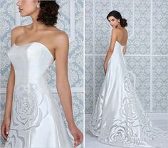 rose laser cut on wedding dress