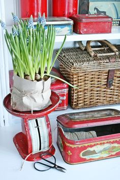 VIBEKE DESIGN - Red metal objects, love the scale!