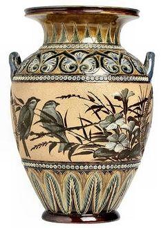A Doulton Lambeth pâte-sur-pâte vase by Florence Barlow Dated 1886