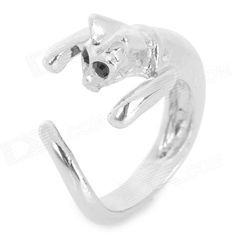 ZEA-JZ220 Cute Kitty Style Crystal Inlaid Ring - Silver