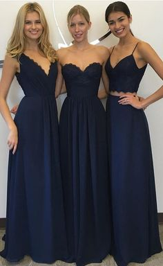 Navy Blue floor length bridesmaid dresses -- all different styles