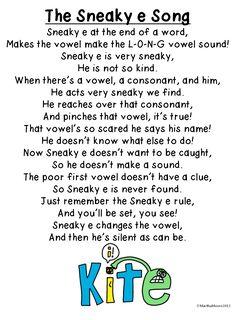 Free Sneaky e song and sneaky e (magic e, silent e) ideas blog post