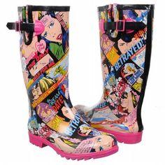 i super love these marvel romance comic rainboots. i must have them.