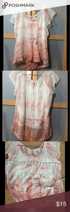 Banana Republic sheer blouse  Gorgeous ! Flows wonderfully, peach salmon color, excellent condition, no flaws or stains. The camisole measurements arm pit to arm pit are 15 flat the other measurements please see pictures. Banana Republic Tops Blouses