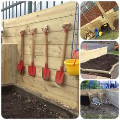 A digging area with child size shovels is a good place to work on eye hand coordination and build strength in the whole body including the core. Also a perfect place to teach about seeds and growing plants.
