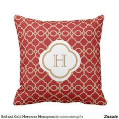 Red and Gold Moroccan Monogram