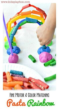 Easy kids activity to strengthen fine motor skills. Helps with color matching. Most of all uses rainbow playdough. Make a rainbow with pasts, pipe cleaners and play d ough