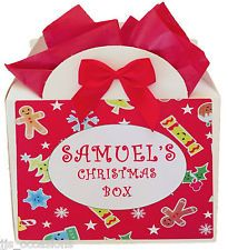 PERSONALISED CHRISTMAS EMPTY GIFT BOX KIDS PARTY IDEA GINGERBREAD XMAS EVE BAG