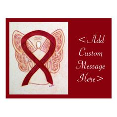 Burgundy Awareness Ribbon Angel Custom Postcard