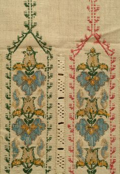 Cross Stitch Borders Ritual towel of heavy linen embroidered on both end with four arches enclosing flowers; arches surrounded by borders of lace in pull and wrap technique. Cross Stitch Borders, Cross Stitch Designs, Cross Stitch Patterns, Cross Stitch Embroidery, Embroidery Patterns, Textile Tapestry, Ottoman Design, Embroidery Techniques, Craft Patterns