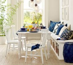 Blue and white make a dining area bright!