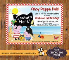 Peppa Pig Birthday invitation - Peppa Pig Pirate Party Invitation by The Honey Bee Press