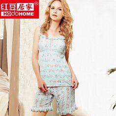 90a0f52e20 woman sleepwear 100% cotton lace decoration floral print spaghetti strap  sleeveless pajama sets free shipping  27.80