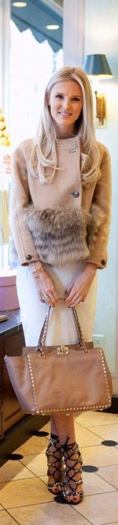 Designer fashion | Blush and fur Valentino coat