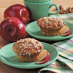 Glazed Apple Streusel Muffins Recipe -I was looking for something warm to make for my daughter before school on a rainy morning. So I jazzed up a boxed muffin mix with a chopped apple, walnuts, brown sugar and a fast-to-fix vanilla glaze. The tasty results really hit the spot. -Elizabeth Calabrese, Yucaipa, California
