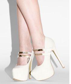 Cute white heels #Lola Shoetique