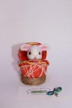 rabbit figurine Easter gift dry felting rabbit by wooltoysUkraine