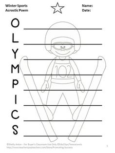 FREE Winter Writing: Your students will be motivated to write an acrostic poem with this FREE printable graphic organizer worksheet with a winter activities sports theme.  This is a sample page from the following packet, which includes acrostic, haiku, Cinquain, I wish, shape, diamante and limerick poems.