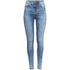 H&M Skinny High Jeans (20 CAD) ❤ liked on Polyvore featuring jeans, pants, bottoms, calças, light denim blue, blue jeans, skinny fit jeans, button fly jeans, high waisted jeans and skinny jeans