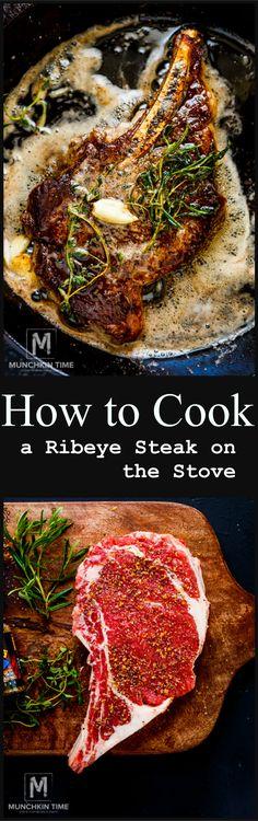 How to Cook a Ribeye Steak on the Stove - Easy step by step Recipe! #howtocookaribeyesteak #steakrecipe #ribeye