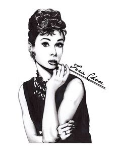"""""""Breakfast at Tiffany"""". I dedicated this illustration for my idol Audrey Hepburn. For me she is not only beautiful but truly an inspiring Lady.    #fashion #illustration #fashionillustration #audreyhepburn #blackandwhite #ferachou"""