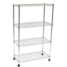 Tall wire shelves for side walls in living room can use clear baskets to organize