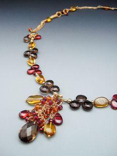 Multi Chain Gold Necklace w Red Garnet & Smoky Quartz by mshafran, $299.99