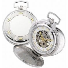 Colibri Pocket Watch Mechanical Skeleton Stainless Steel with 14K Gold Inserts PWQ096820S