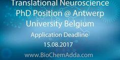 Translational Neuroscience PhD Position @ Antwerp University Belgium