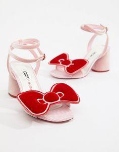 ASOS DESIGN   Hello Kitty x ASOS DESIGN velvet bow heeled sandal Bow  Sandals, Bow 2279c74a74