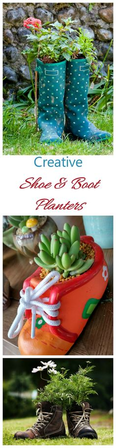 These boot and shoe planters are a creative and unique way to add a whimsical touch to your garden. #shoeplanters #bootplanters