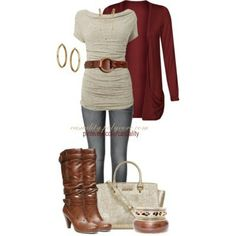 Fall outfit: cranberry, neutral, brown boots.