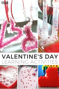Valentines Day Learning Activities for Kids. Fun Valentines Day science, sensory, STEM, and more for young kids.