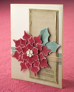 Uses CTMH Art Philosophy Cricut cart - snowflake cuts and stamps as a poinsettia - genius!
