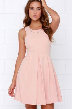 Refined and Dandy Blush Sleeveless Dress at Lulus.com!