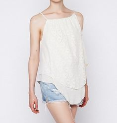 cream lace top - bsbfashion.com
