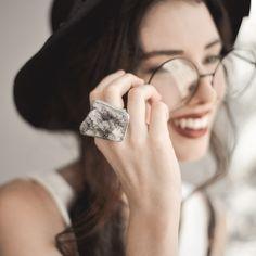 quartz ring / smokey quartz ring / amethyst ring / smoky quartz / druzy ring / grey druzy / raw quartz ring / quartz cluster / mineral ring #Etsy #Share #AyuJewelryShare #EtsyShop #MSMTeam
