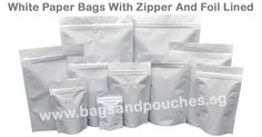 White Paper Bags with zipper and foil lined