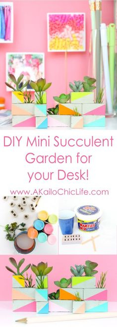 DIY a mini cinder block succulent garden using maker's mix concrete and faux succulents. Perfect graduation gift, white elephant gift, office supplies, or gift for a graphic designer - Craft your own mini succulent garden - doll house furniture