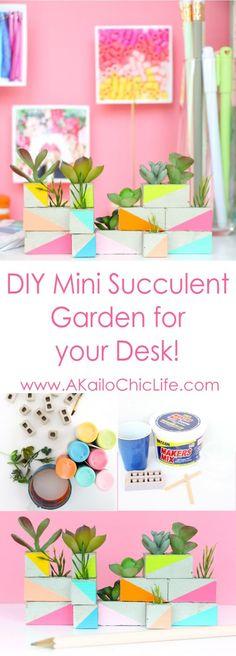 DIY a mini cinder block succulent garden using maker's mix concrete and faux succulents | home decor crafts | diy concrete planters | easy crafts
