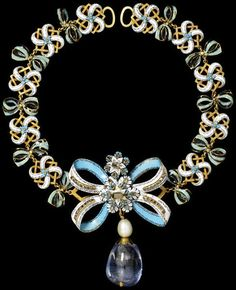 Enameled Gold Necklace -- Circa 1660 -- Diamonds, pearl & sapphire -- European -- Victoria & Albert Museum, London.