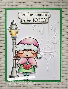 This week we have a wonderful festive digi set to showcase – The Carollers. I coloured them with my Polychromos pencils then fussy cut and layered onto embossed backgrounds. (I don't us…