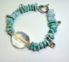Genuine Larimar & Swarovski Crystal Charm by RaquelDoloresDesign