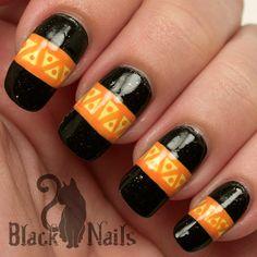 NOTD: Halloween Tribal Pattern Nail Art   Black Cat Nails