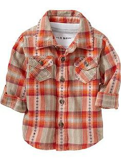 Plaid Button-Up Flannel Shirts for Baby (Old Navy 0-24m)