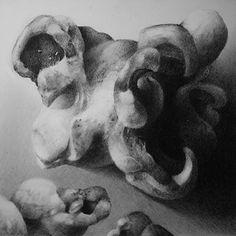 """Popcorn Drawing on Claybord 4"""" x 4"""" drawn as demo for a class I teach -Armin Mersmann"""