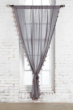 Urban Outfitters Anthro Magical Thinking Fluor Tassel Curtain Grey Pink Black 84 #MagicalThinking