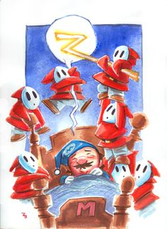 Sleeping Mario w Shyguys by Boatwright on DeviantArt Super Mario Bros, Super Mario All Stars, Super Smash Bros, Videogames, Otaku, Nintendo World, 8 Bits, Shy Guy, Gamers