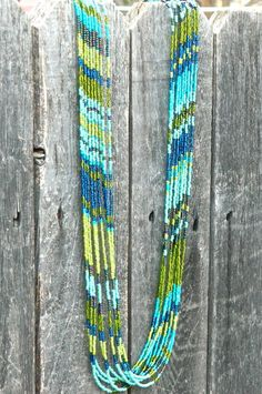 Aztec blues and greens seed bead multi strand by EntwineArt